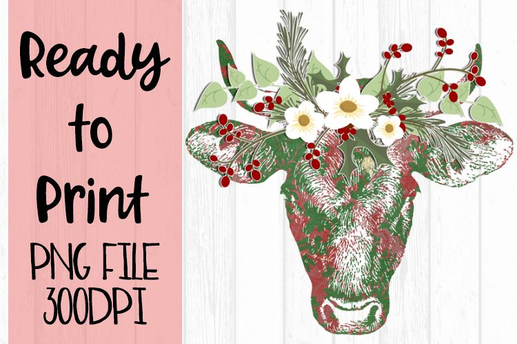 Christmas Cow Ready to Print example image 1