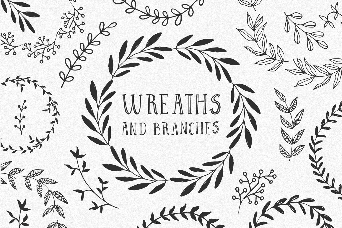 Hand drawn Wreaths and branches  example image 1