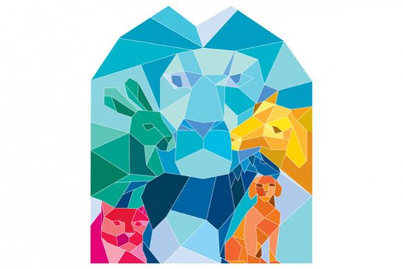 Lion Rabbit Cat Horse Dog Goat Low Polygon example image 1
