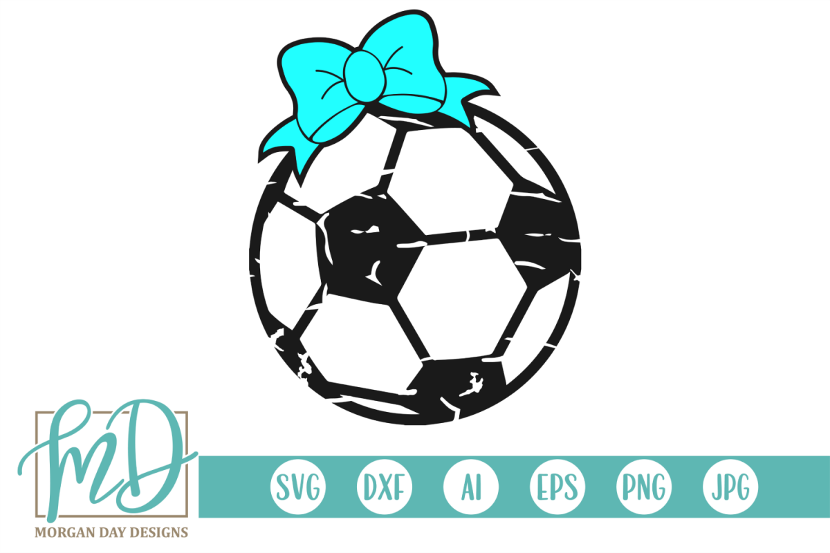 Grunge Soccer Ball with Bow SVG, DXF, AI, EPS, PNG, JPEG example image 1