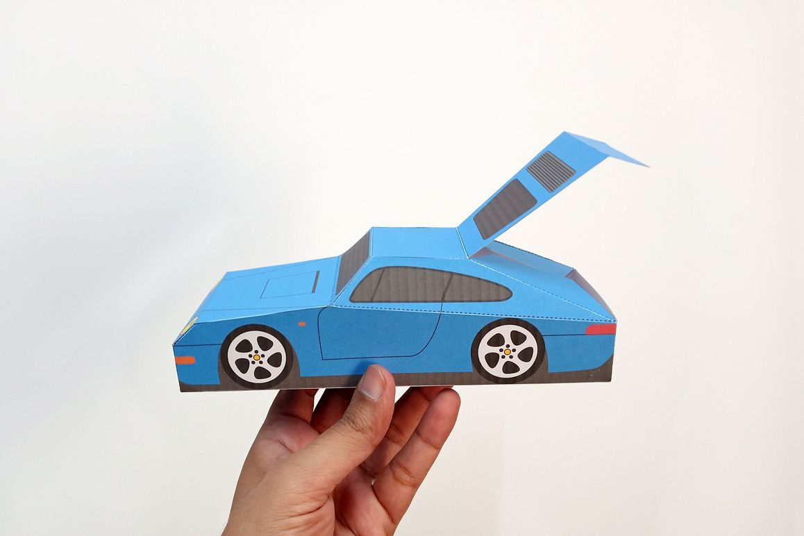 DIY Porsche Car favor - 3d papercraft example image 1