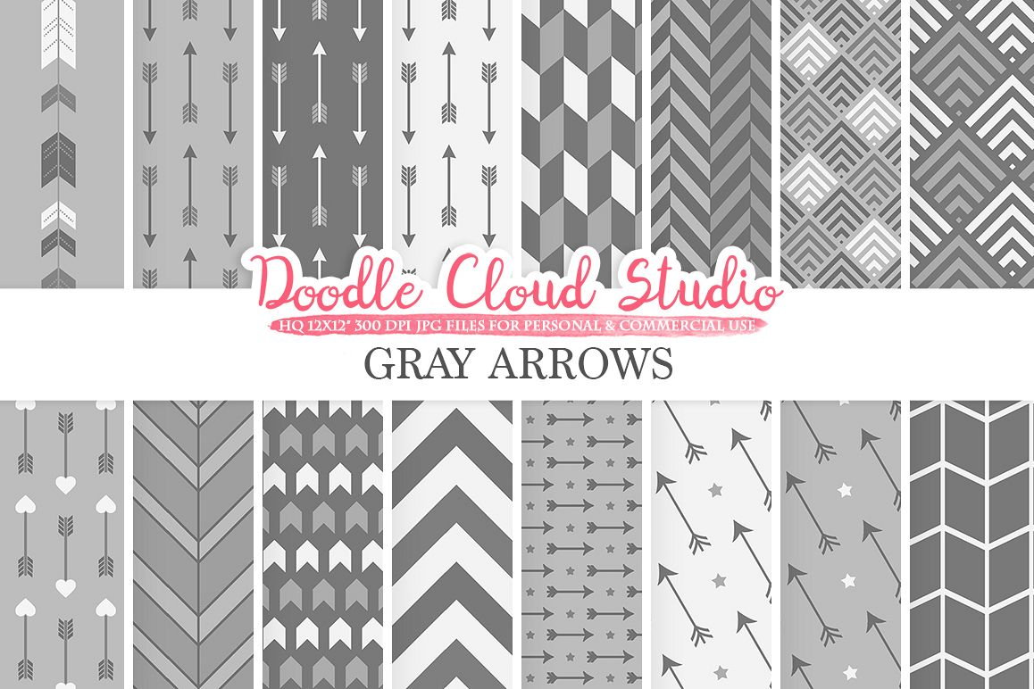 Gray Arrows digital paper, Grey Arrow patterns, tribal, archery, chevron triangles backgrounds Instant Download, Personal & Commercial Use example image 1
