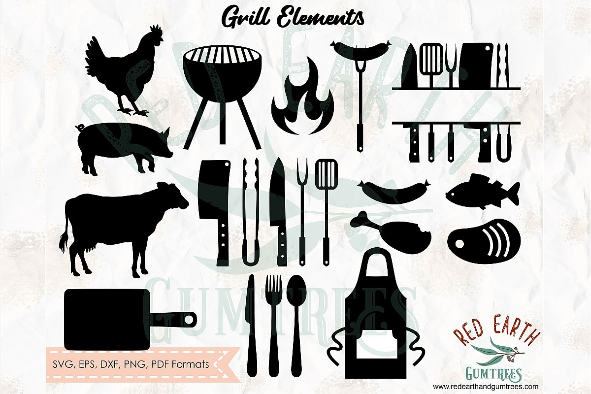 Grill bundle, BBQ Barbecue kitchen elements SVG,DXF,PNG,EPS