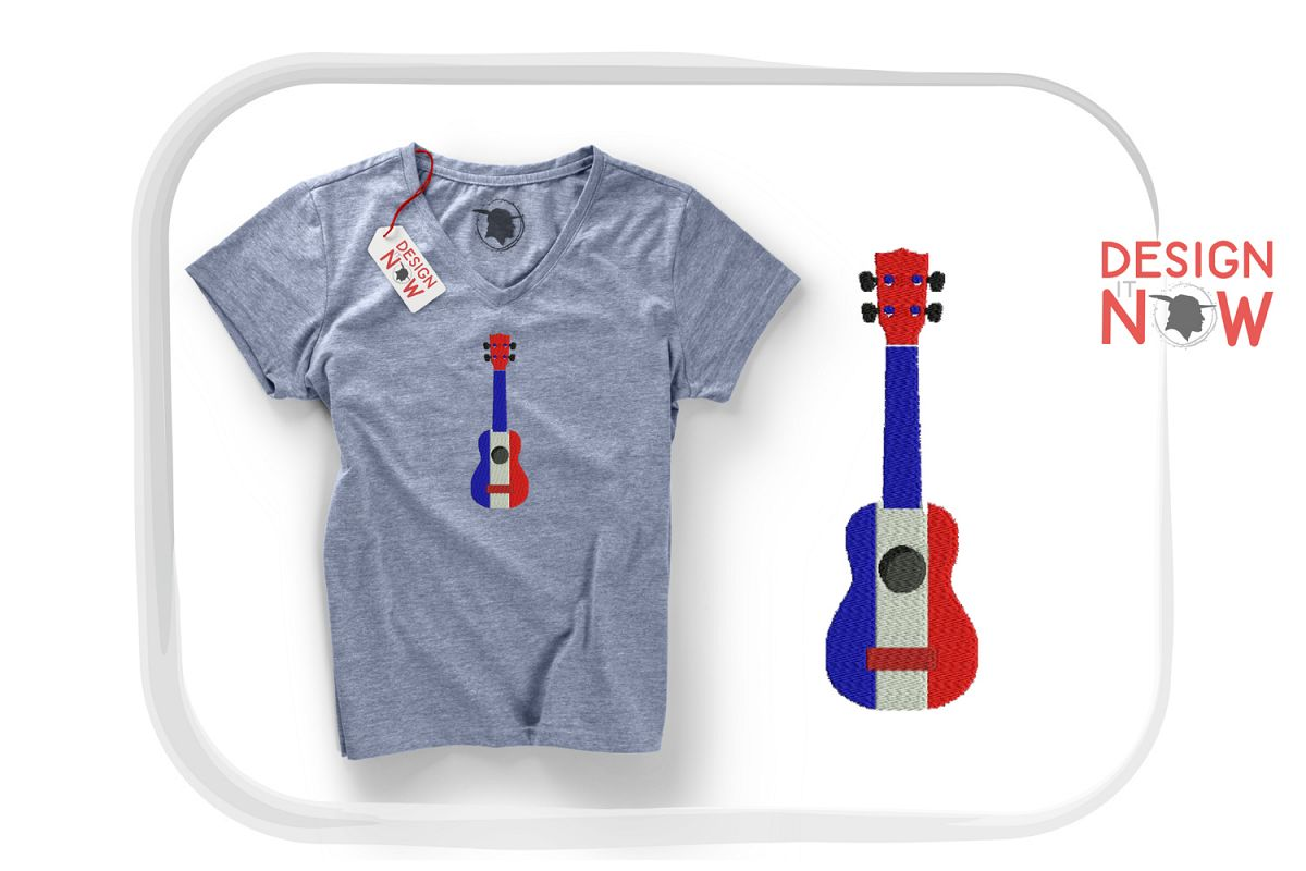 France Flag Embroidery Design, Map Embroidery Design, Guitar example image 1