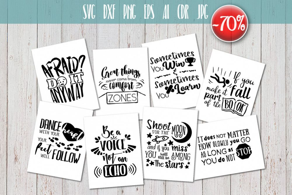 8 Hand Lettered motivation quotes bundle svg example image 1