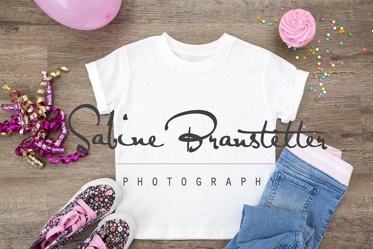 Styled Stock Photography Girl's White Birthday Shirt Mockup example image 1