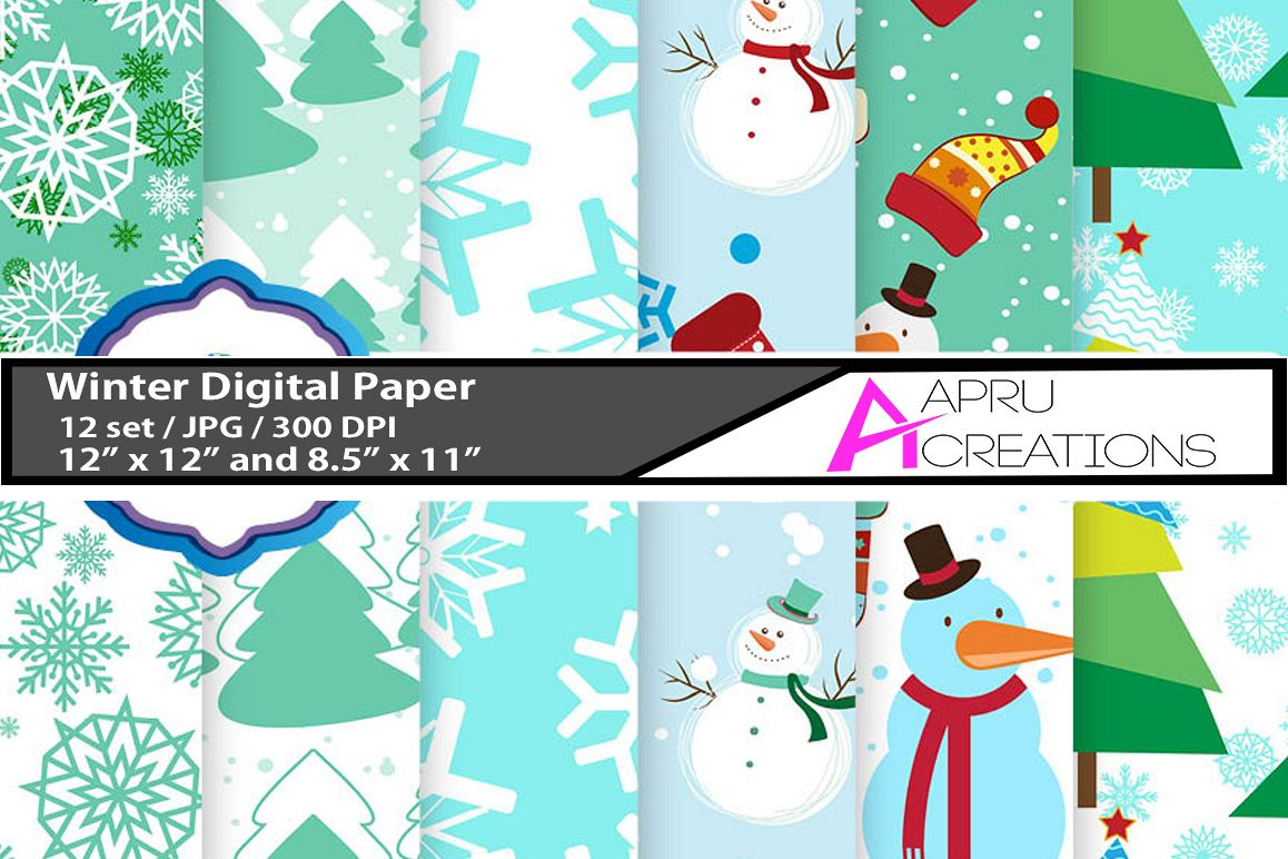 christmas digital papers, winter digital papers, christmas pattern, winter patterns, high quality 300 dpi, 12 x 12 inch , and 8.5 x 11 inch example image 1