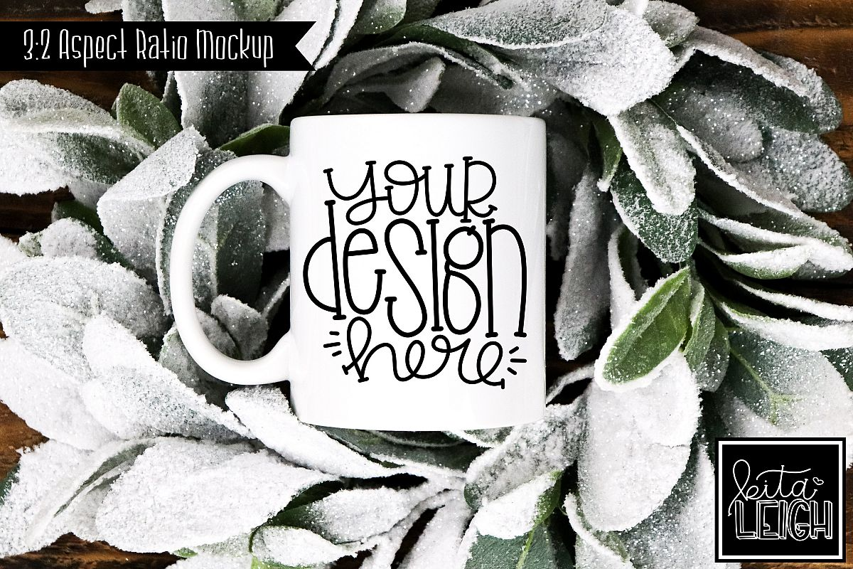 11 oz Mug Mockup with Snowy Wreath example image 1