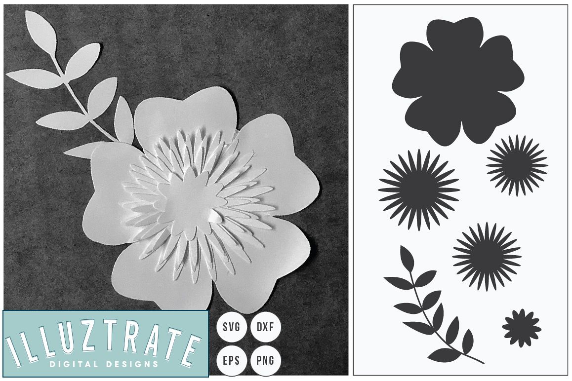 Floral SVG cut files | Vector Flower | Paper Cutting SVG example image 1