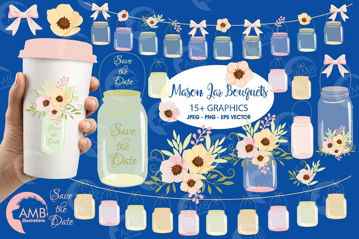 Mason Jar Wedding clipart, graphics, illustrations AMB-1031 example image 1