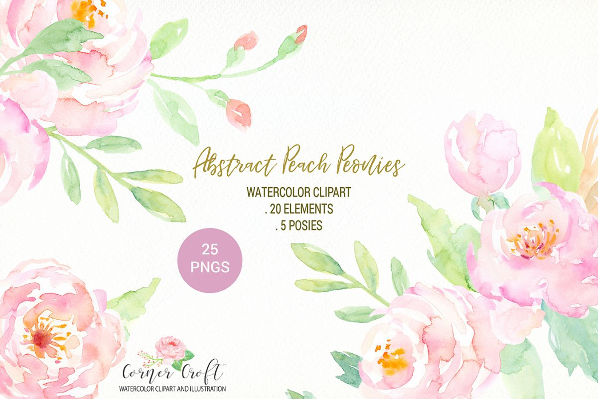 Watercolour Peach Peony Illustration example image 1