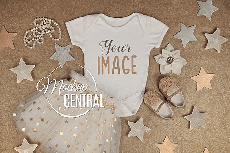 Gold Star Baby Girl's Onepiece Bodysuit Mockup Shirt JPG example image 1