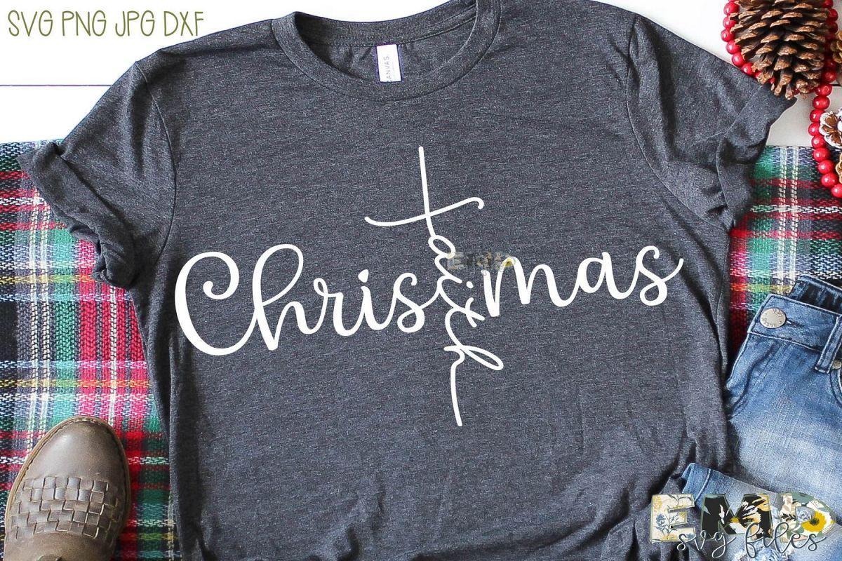 Christmas Faith Cross Svg | Holiday Svg example image 1
