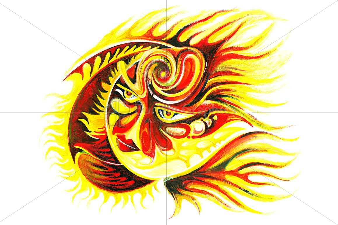 Sun - Abstract Handmade Painting of Diety example image 1