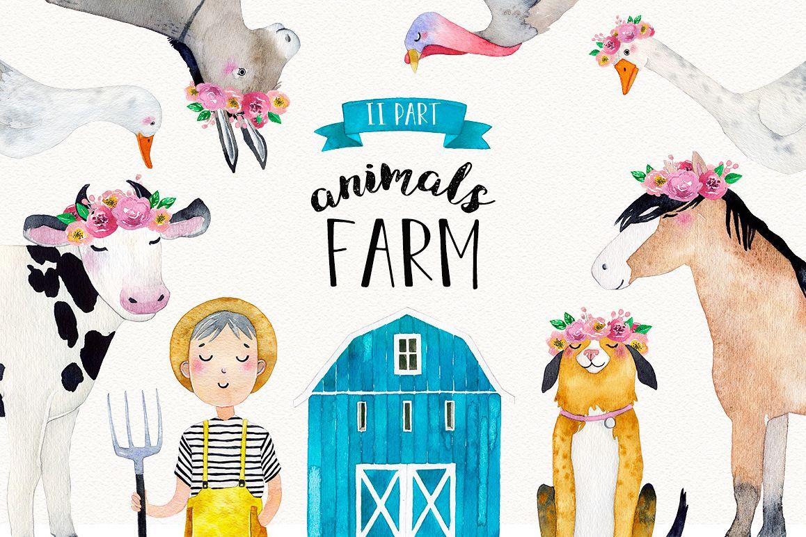 FARM ANIMALS watercolor set PART 2 example image 1