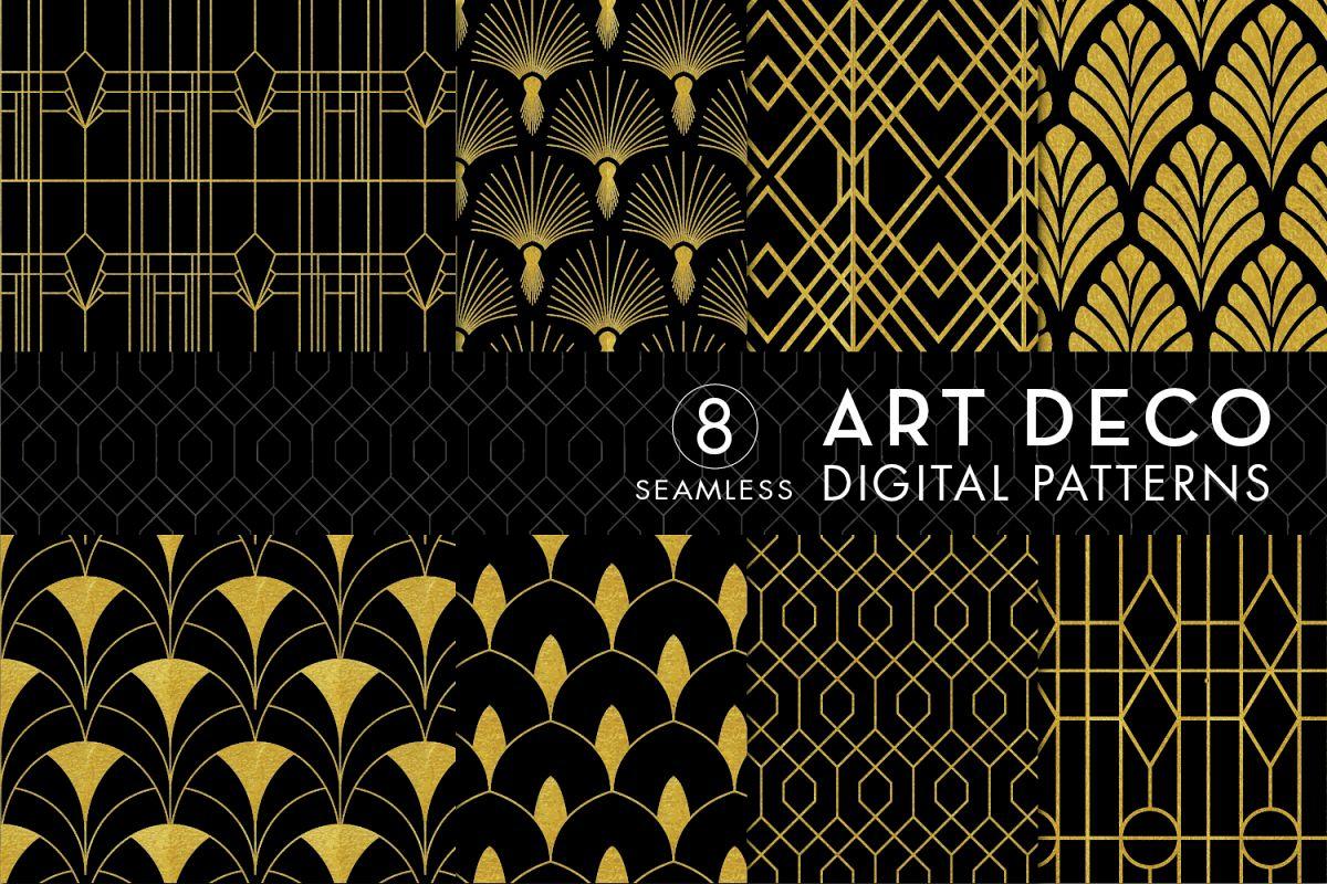 8 Seamless Art Deco Patterns