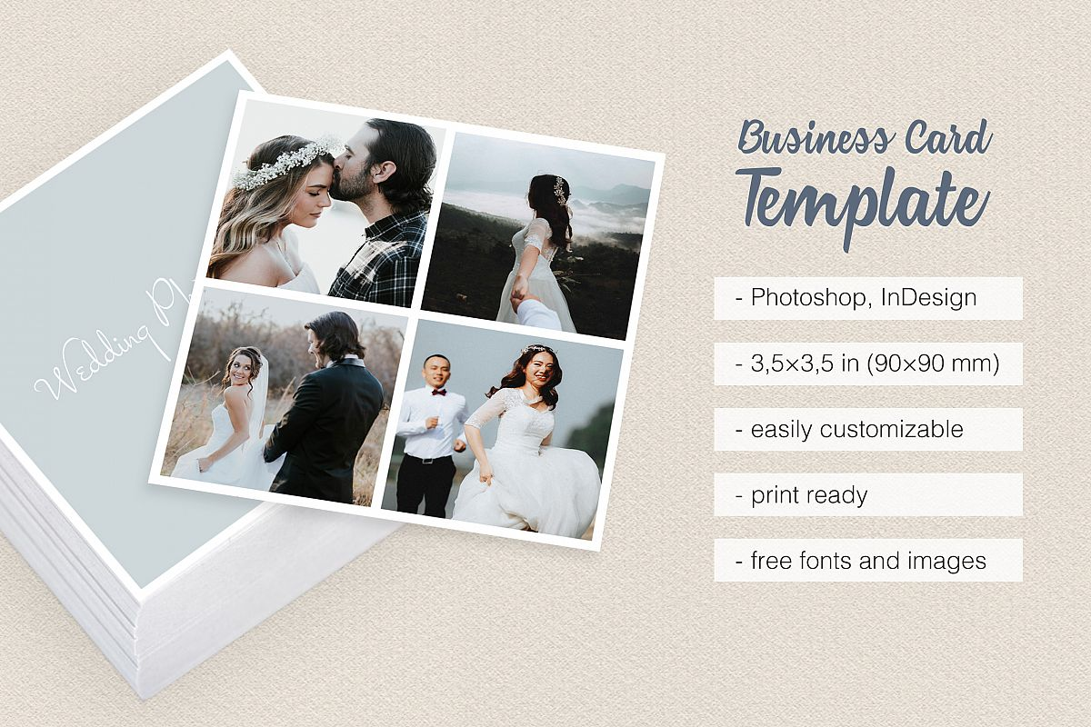 Square Polaroid Wedding Photographer Business Card