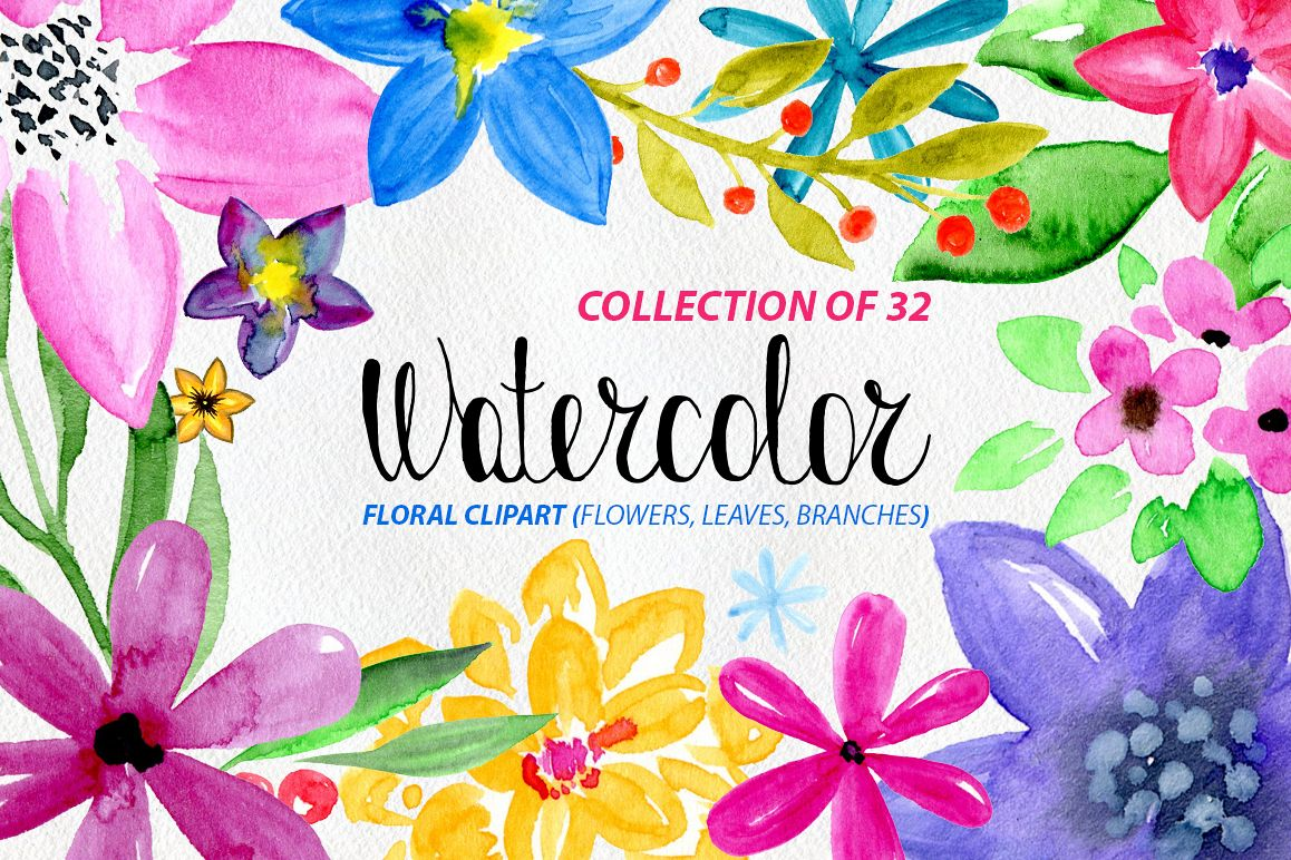 32 Watercolor floral elements: flowers, leaves example image 1