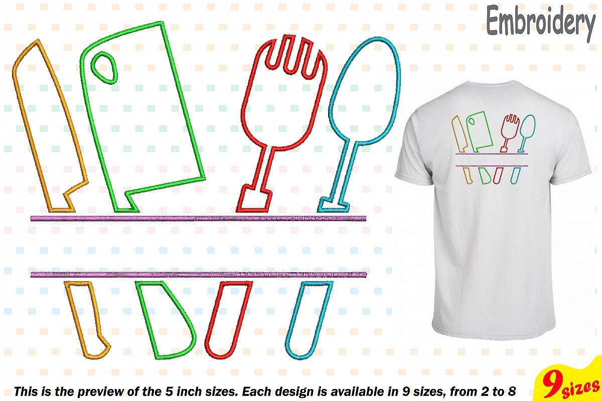 Split Kitchen Embroidery Design Machine Instant Download Commercial