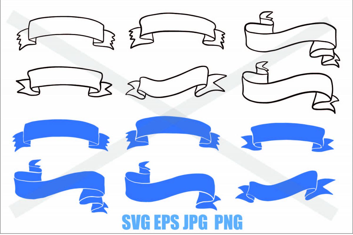 Ribbon Set - SVG/EPS/JPG/PNG example image 1