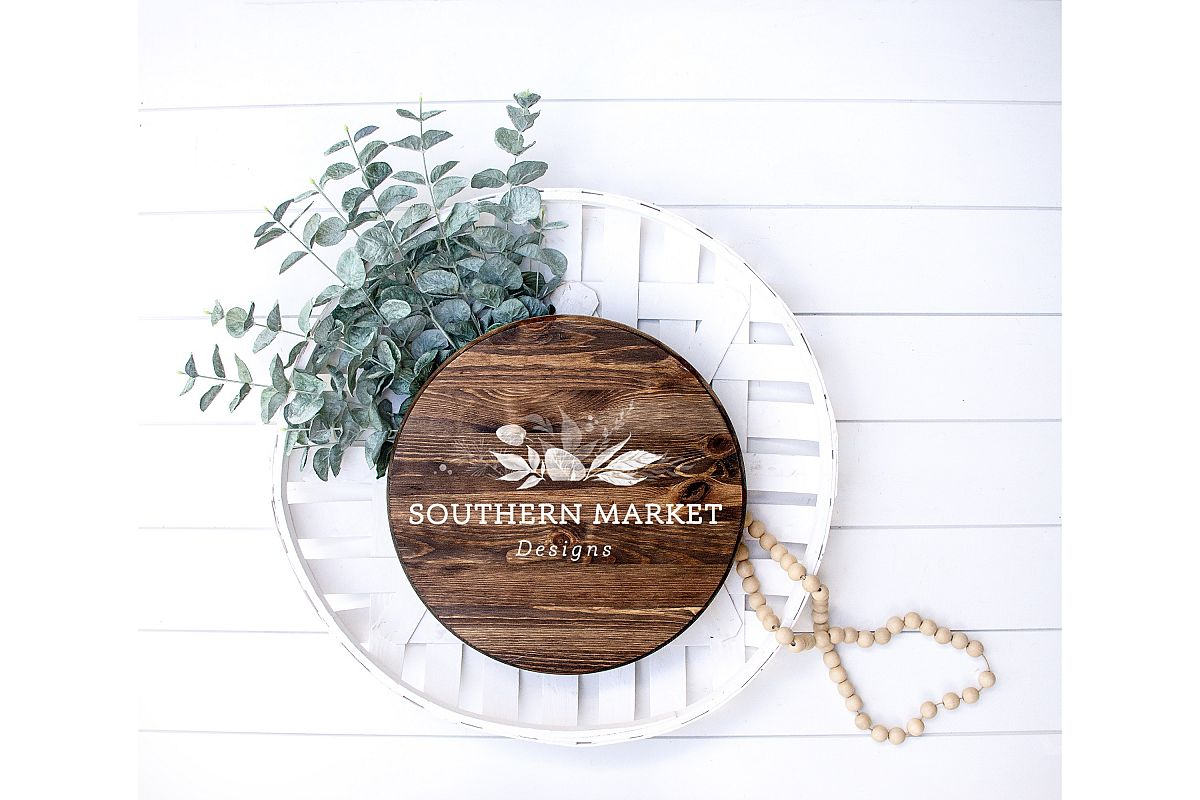 Wood Round Sign Mock Up Stock Photography example image 1