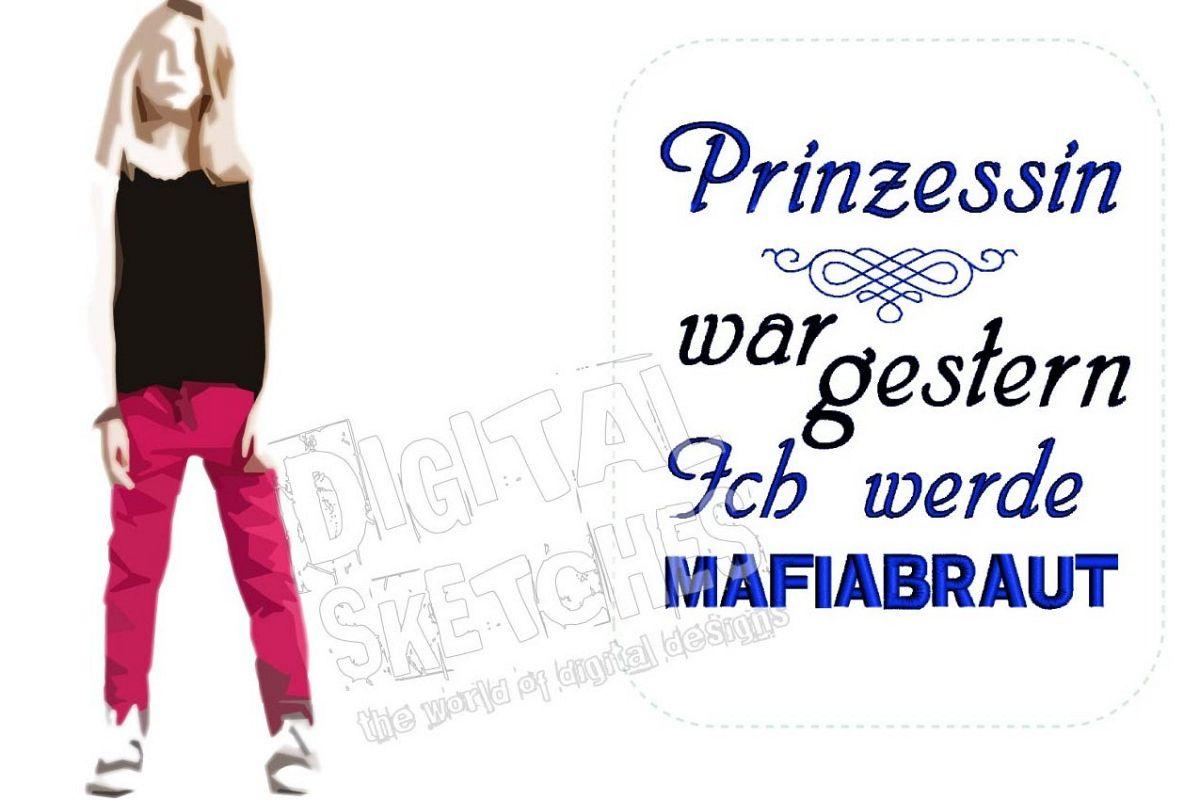 Princess Saying Prinzessin German Machine Embroidery Design