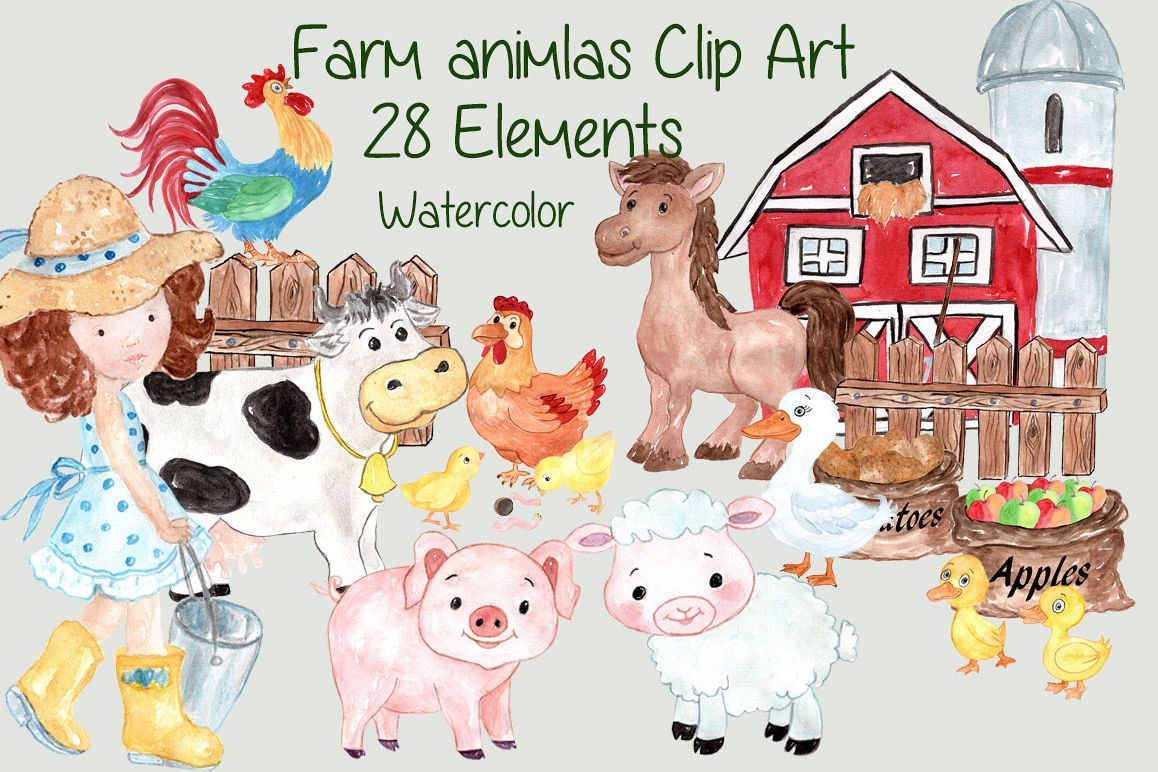 Watercolor farm animals clipart example image 1