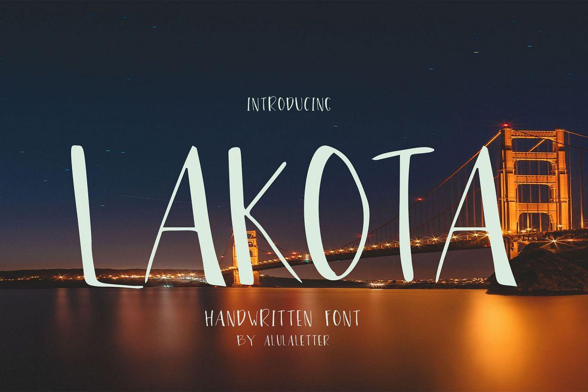 Lakota - handwritten font example image 1