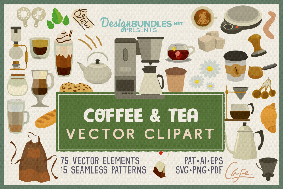 75 Coffee and Tea Vector Clipart & Seamless Patterns example image 1