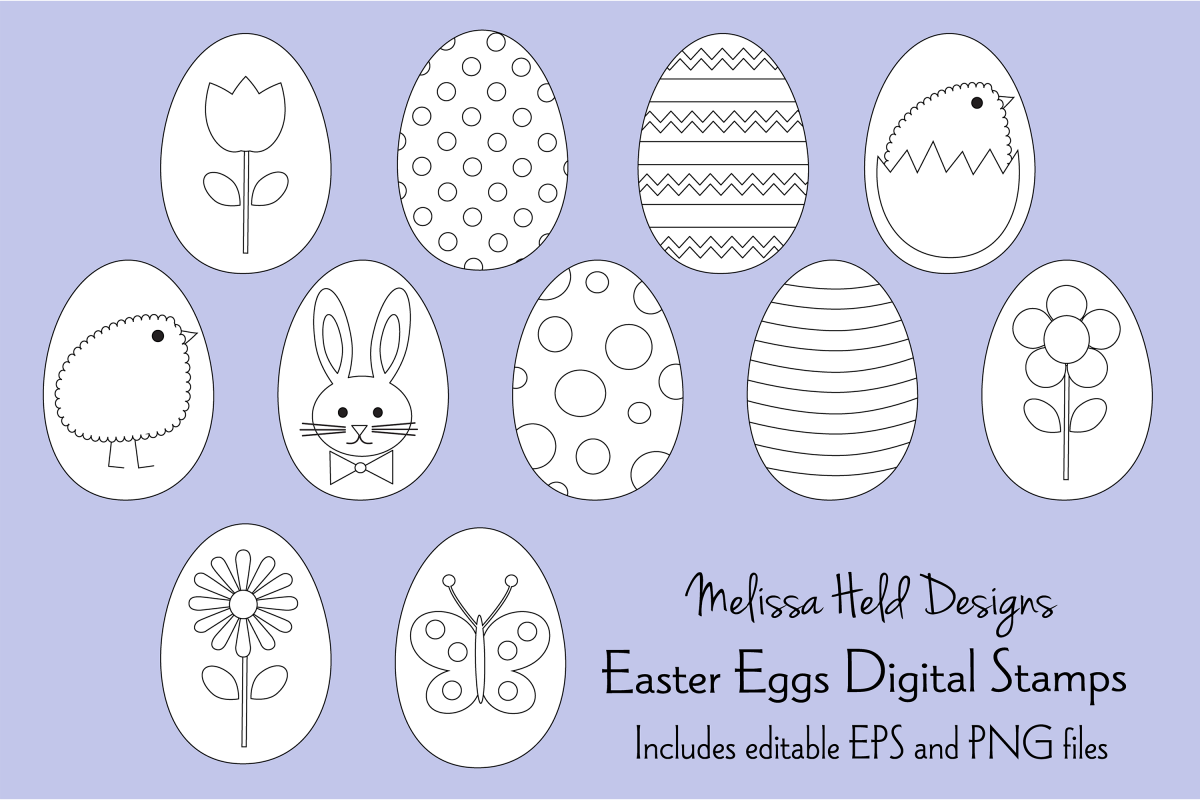 Easter Egg Digital Stamps Clipart example image 1