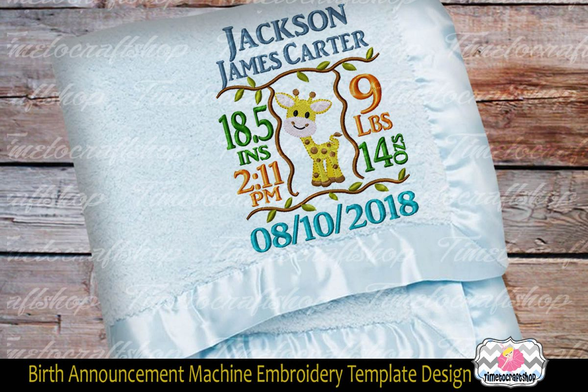 3 sizes Baby Born Announcement Embroidery Template example image 1
