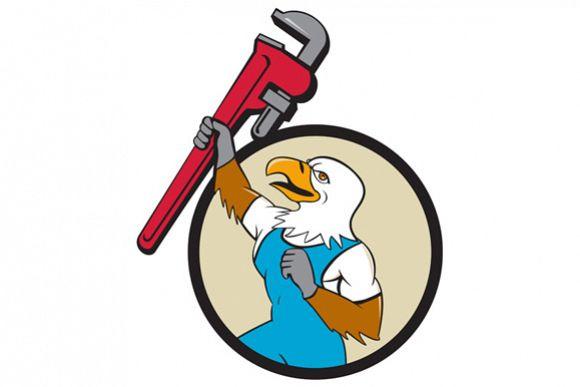 Plumber Eagle Raising Up Pipe Wrench Circle Cartoon example image 1