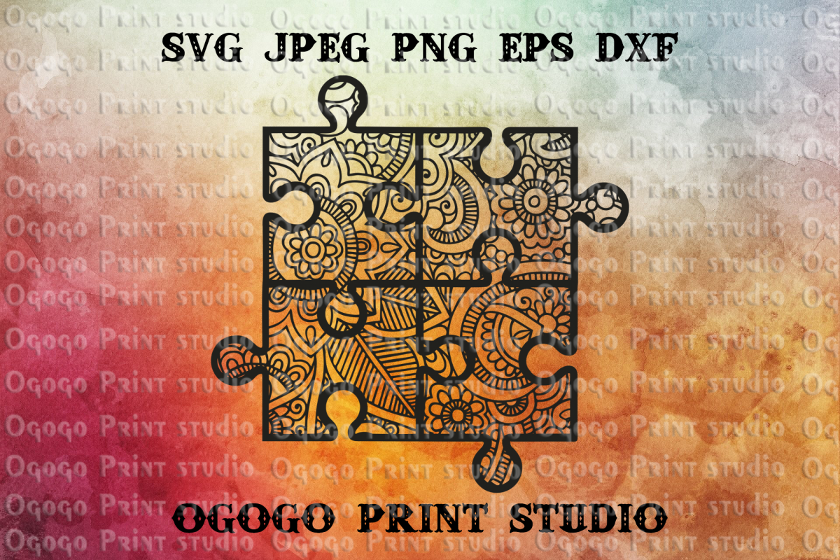 Mandala svg, Puzzle Svg, Zentangle SVG, Autism Awareness svg example image 1