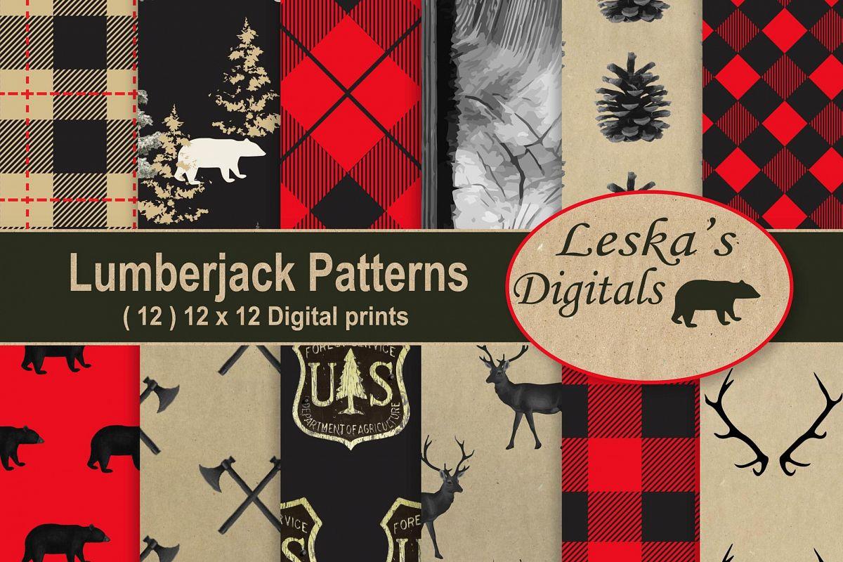 LumberJack Pattern Backgrounds, Digital Scrapbook Paper example image 1