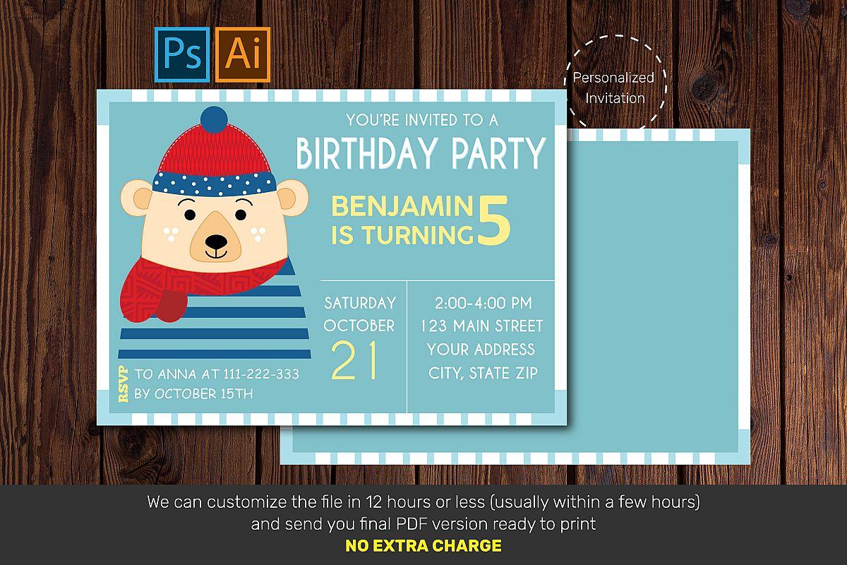 Birthday Invitation Card Bear Birthday Card