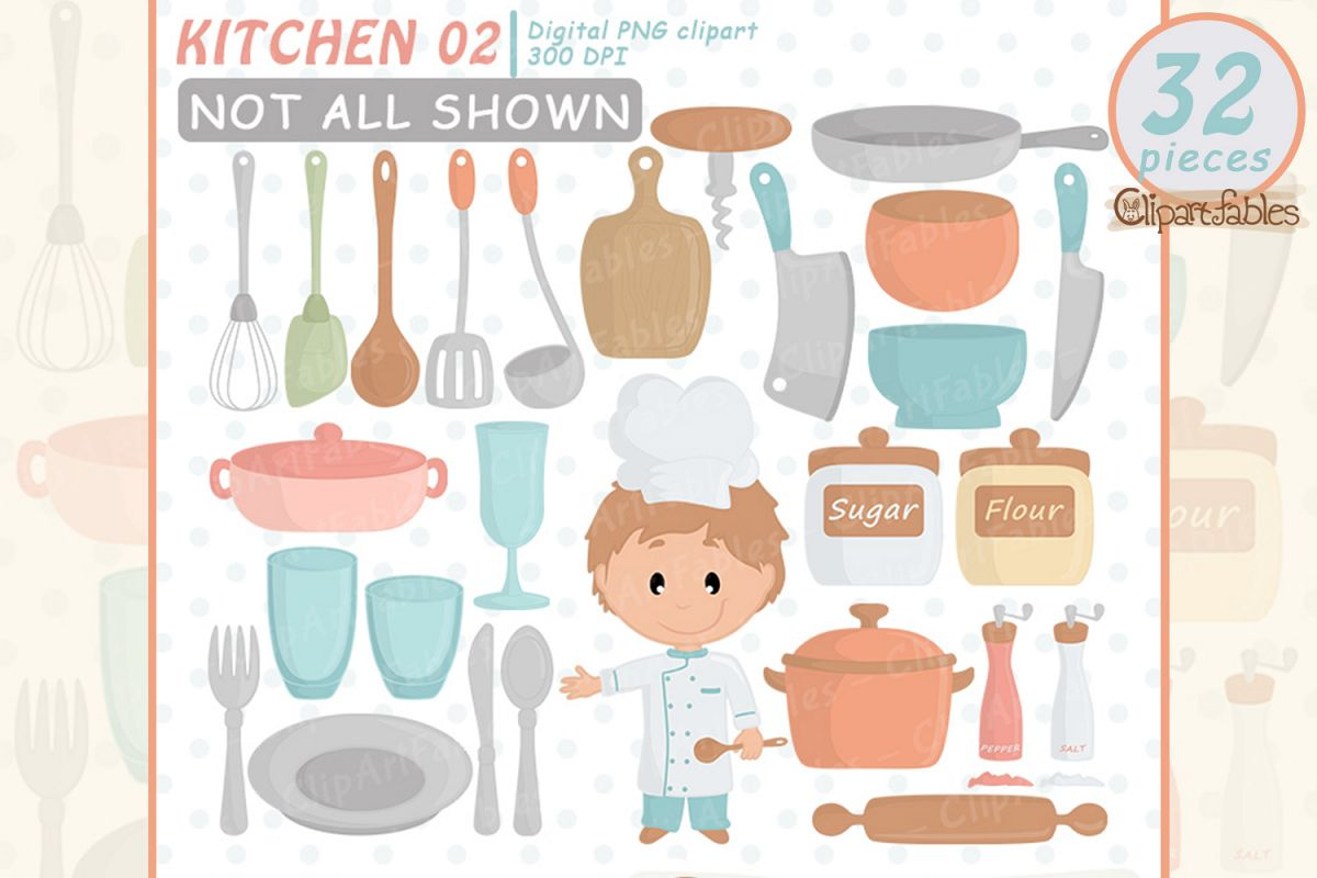 CHEF clipart, Kitchen aid, Cute kitchen party, Cutlery art example image 1