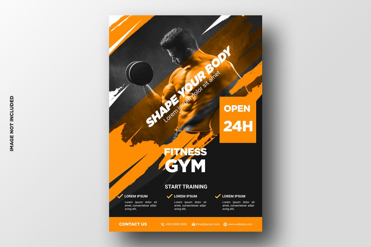 Fitness Flyer template with grunge shapes example image 1