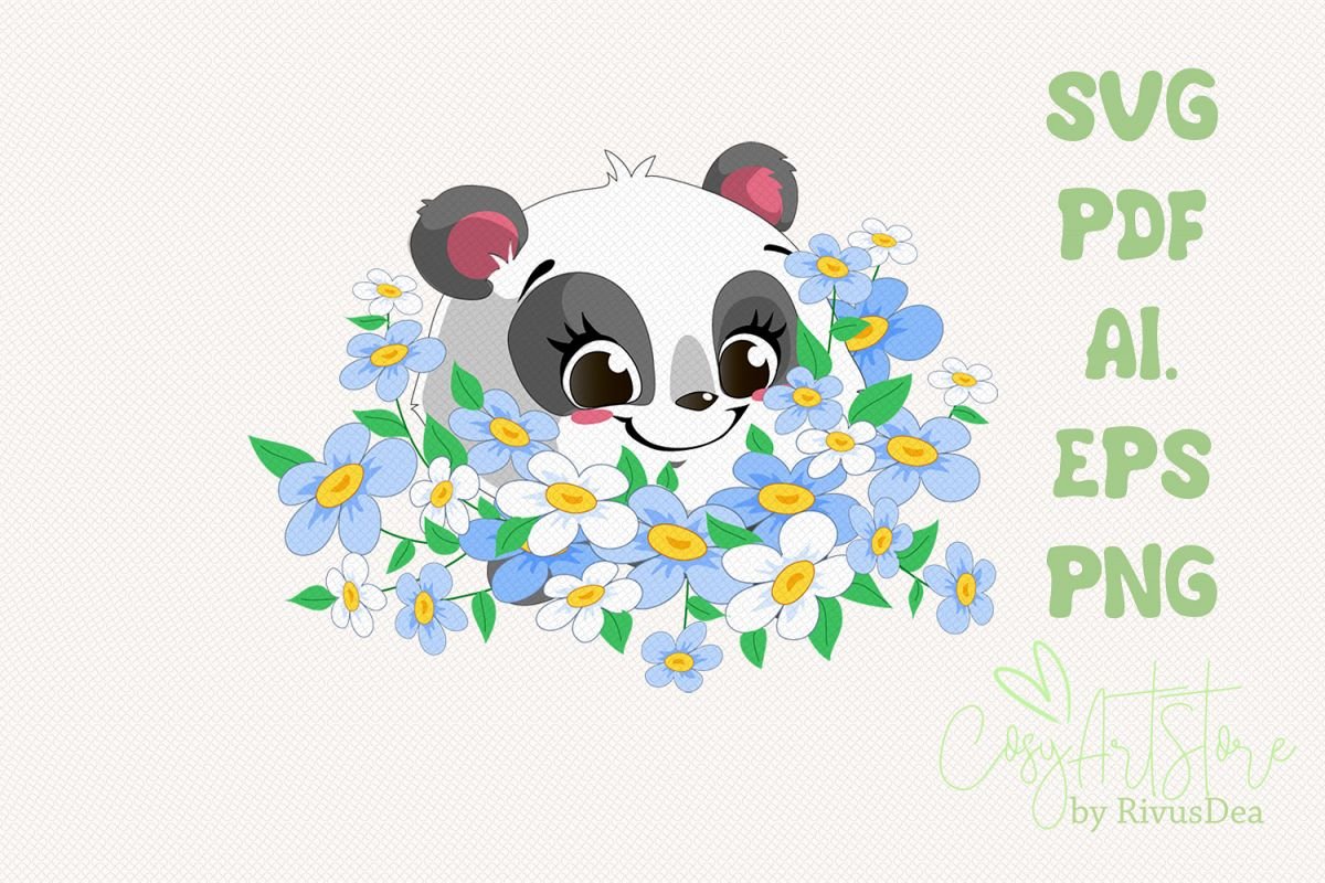 Panda SVG download, Bouquet flowers Panda PNG, Chamomile example image 1