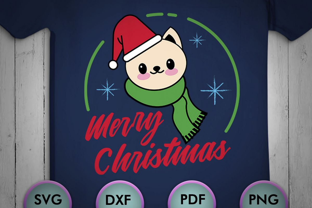 Cream Cat Christmas SVG, Christmas Svg, Designs, cut design example image 1