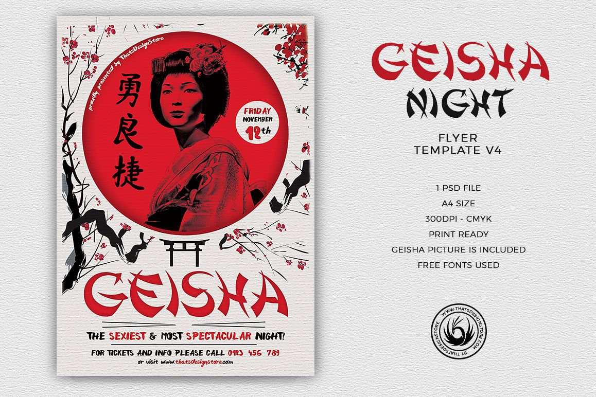Geisha Night Flyer Template V4  example image 1