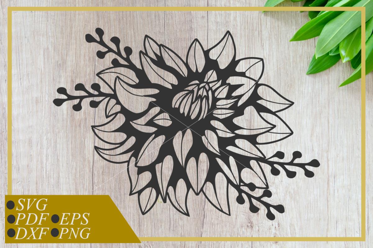 Dahlia Flower svg, single flower, instant download, cut file example image 1
