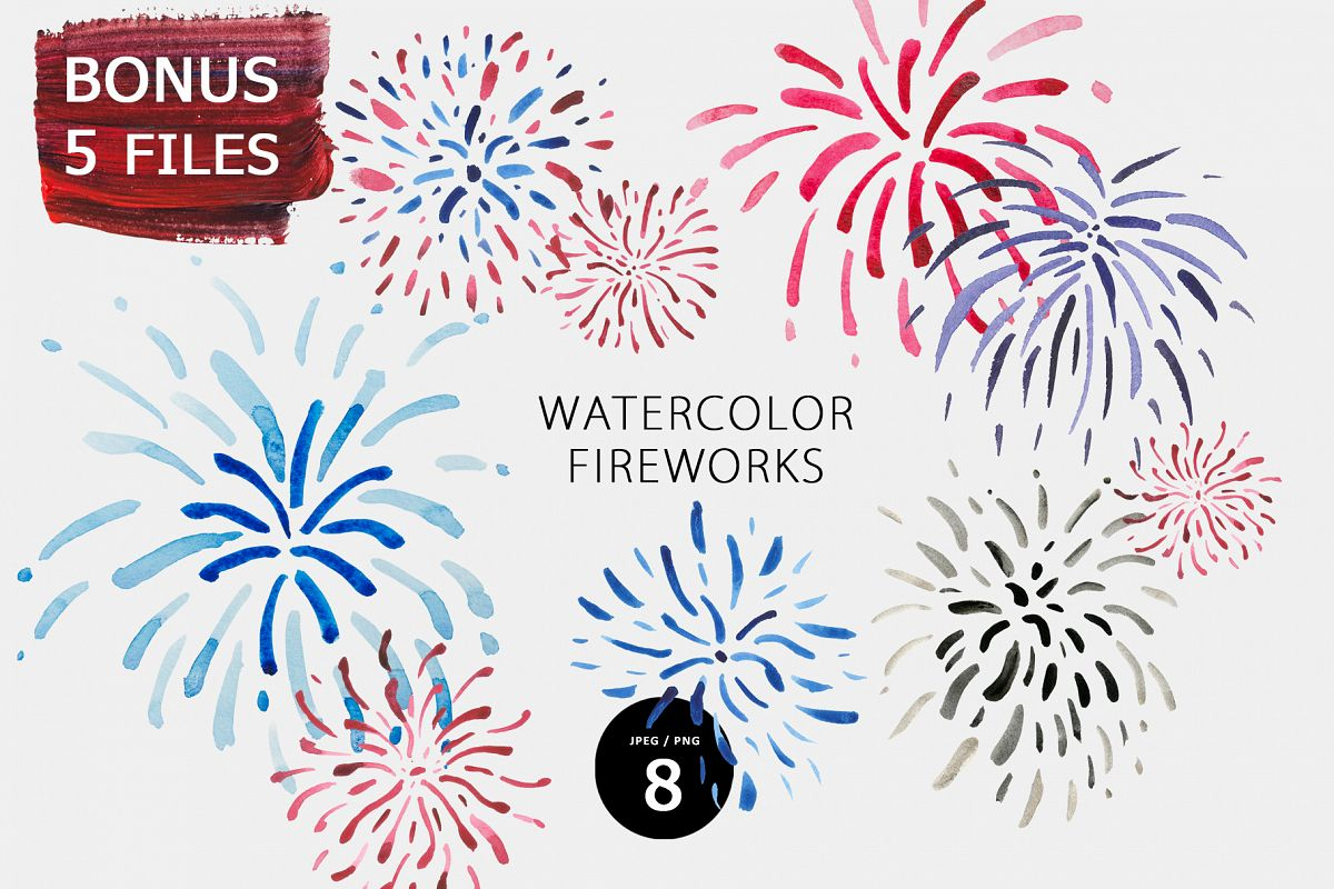Watercolor fireworks example image 1