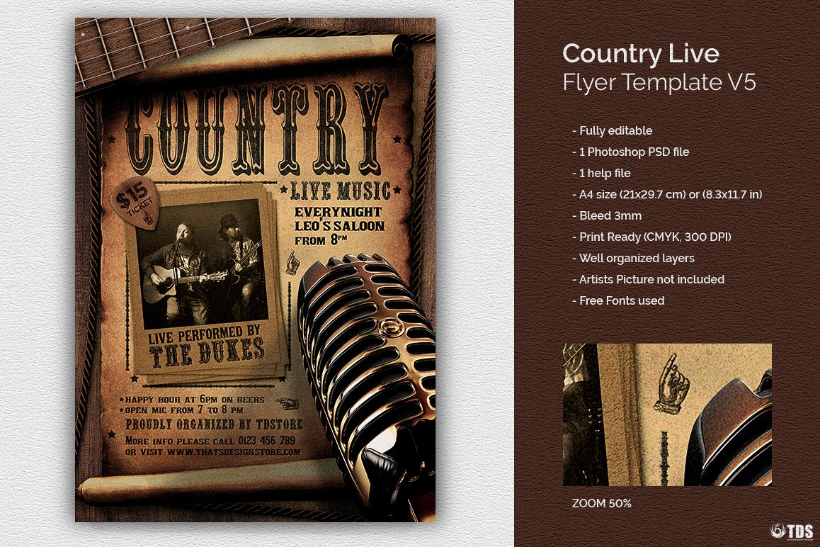 Country Live Flyer Template V5 example image 1