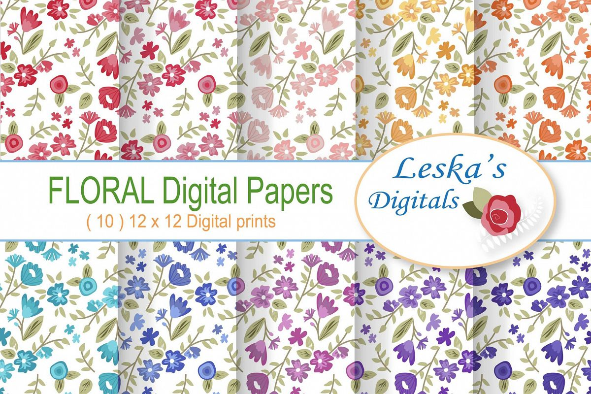 Floral Digital Paper - Wild Flowers example image 1