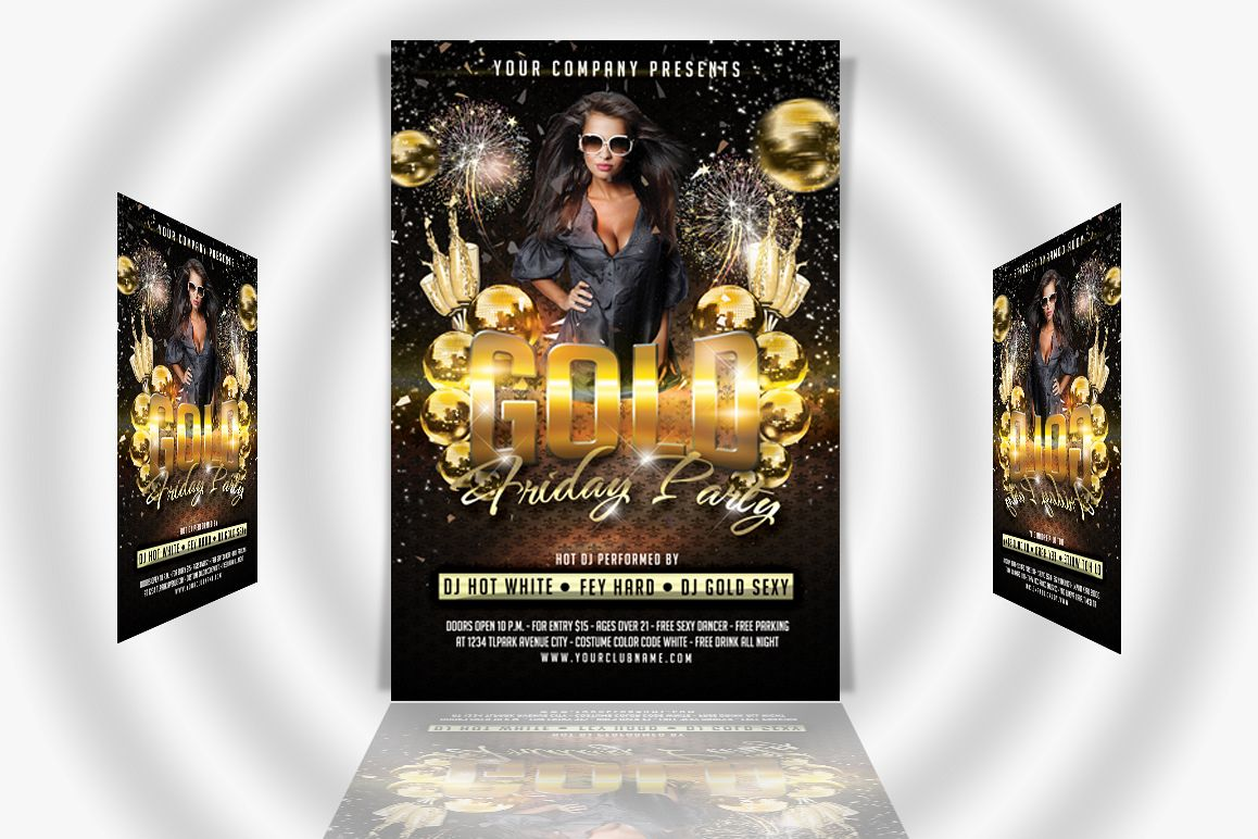 Gold Friday Party Flyer example image 1
