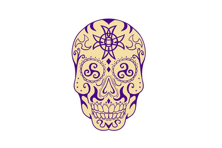 Mexican Skull With Triskele and Celtic Cross Tattoo