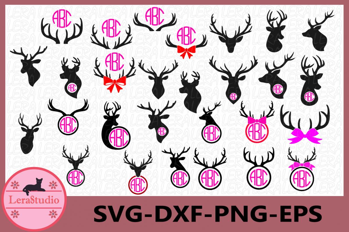 Deer Head Monogram Frame, Antler SVG Files, Deer svg Cut example image 1