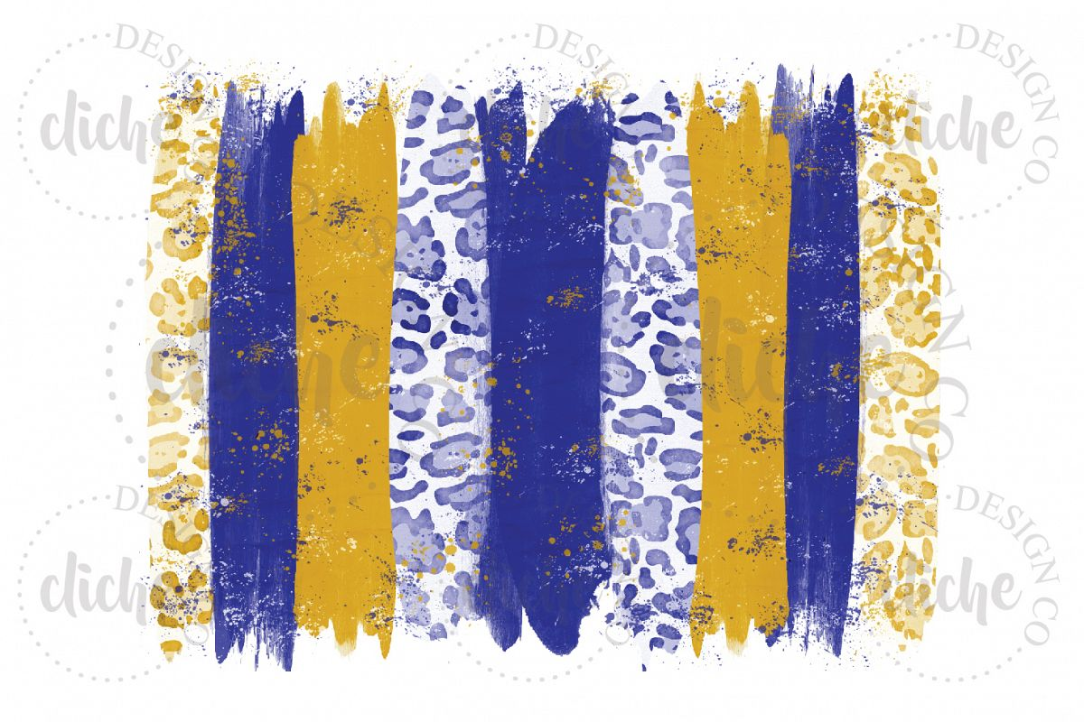 Blue Yellow Paint Stroke Sublimation Design Background example image 1