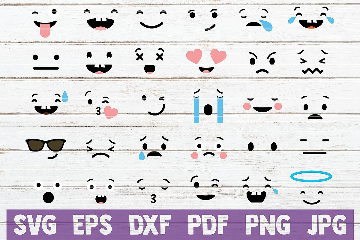 Face Expressions SVG Cut Files   commercial use example image 1