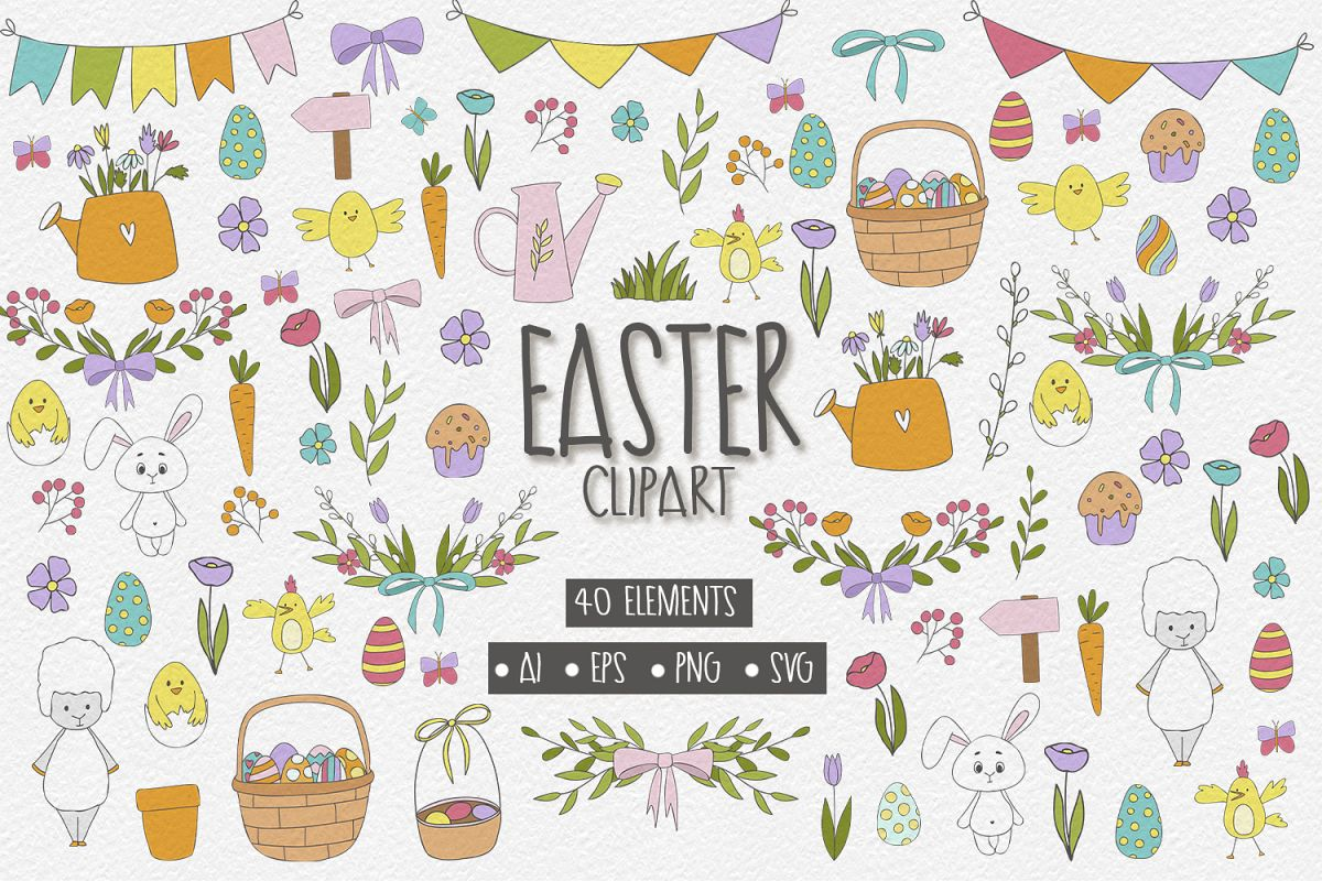 40 Easter Clipart Elements example image 1
